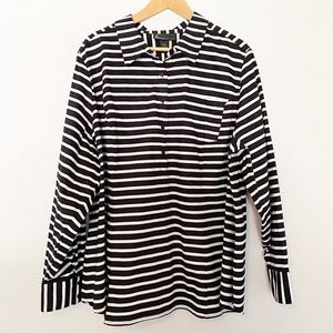 Lane Bryant Structured Black/White Pullover Top